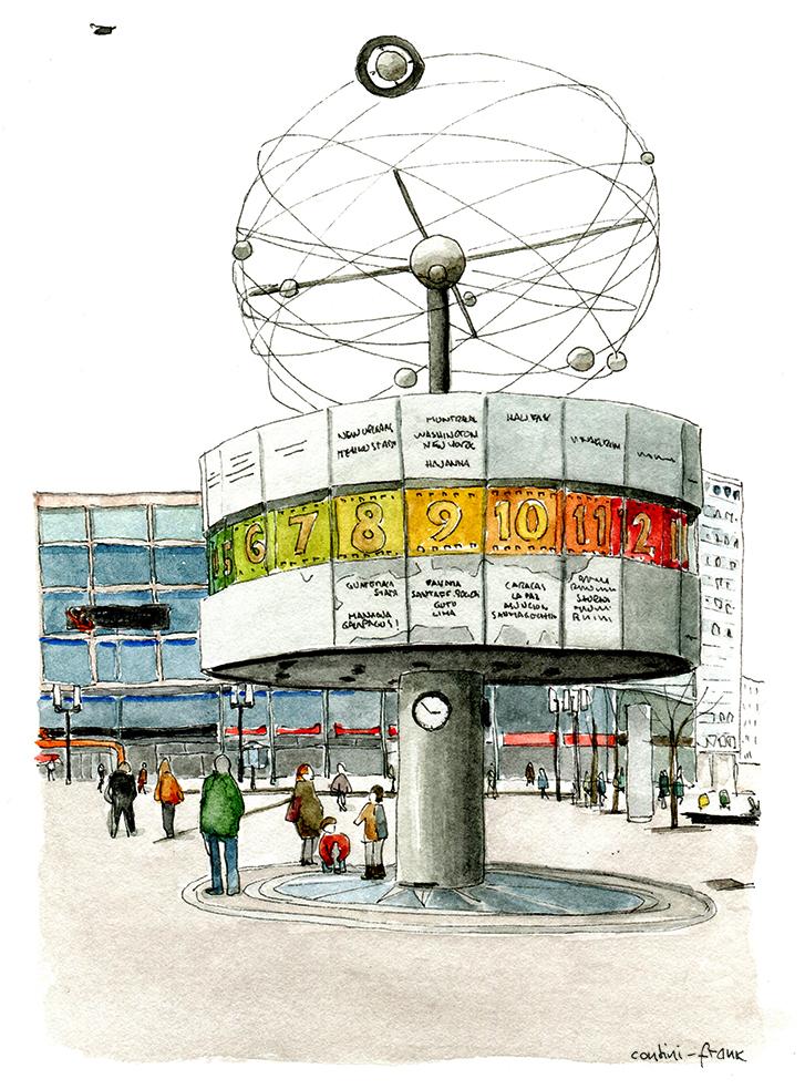 Weltzeituhr auf dem Alexander Platz, Sara Contini-Frank