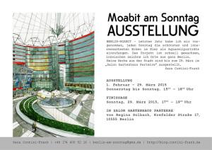 Plakat für die Finissage der Ausstellung Moabit am Sonntag