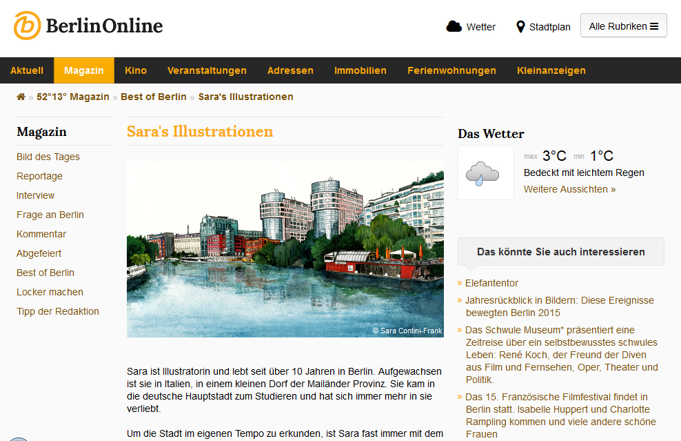 "BerlinOnline Stadtportal, Rubrik ""Sara's Illustrationen"""