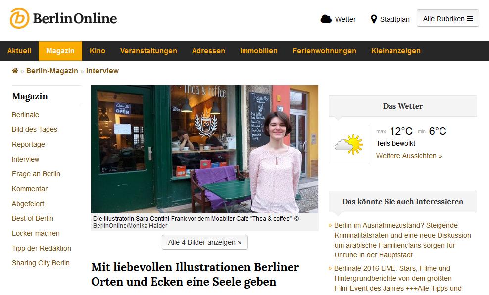 Interview auf BerlinOnline über liebevolle Illustrationen, Text und Fotos von Monika Haider