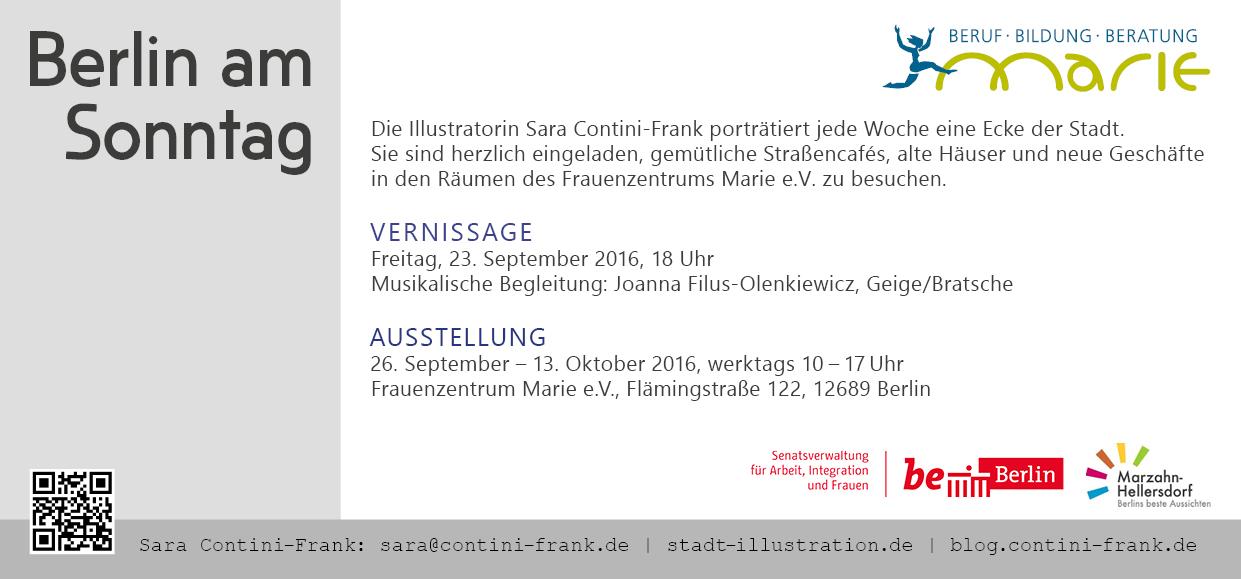 Einladungspostkarte, Sara Contini-Frank
